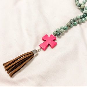 Double wrap cross and tassel necklace